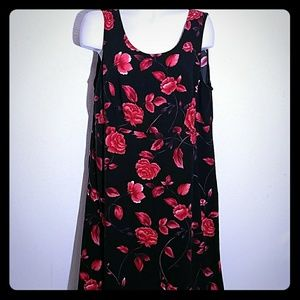 Teddi Woman red rose floral spring long flow dress